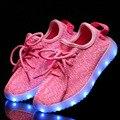 New fashion light up led crianças shoes menina luminosa meninos shoes cor brilhante carga casuais com sola de simulação para crianças