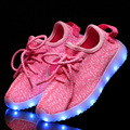 Nueva moda light up kids shoes luminoso led chica niños shoes color brillante ocasional con cargo exclusivo de simulación para los niños