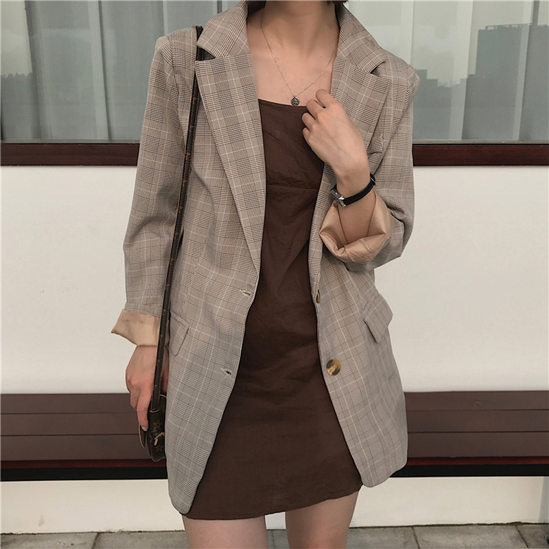 Suit Coat Jacket Plaid Blazer Office Vintage Outerwear Loose Female Single-Breasted Casual