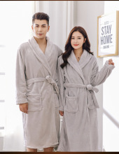 2018 New Autumn Winter Thickening Lovers Robe Vintage Coral Down Bathrobe  Gray Lingerie Kaftan Nightwear Pajamas 3e053d06984e