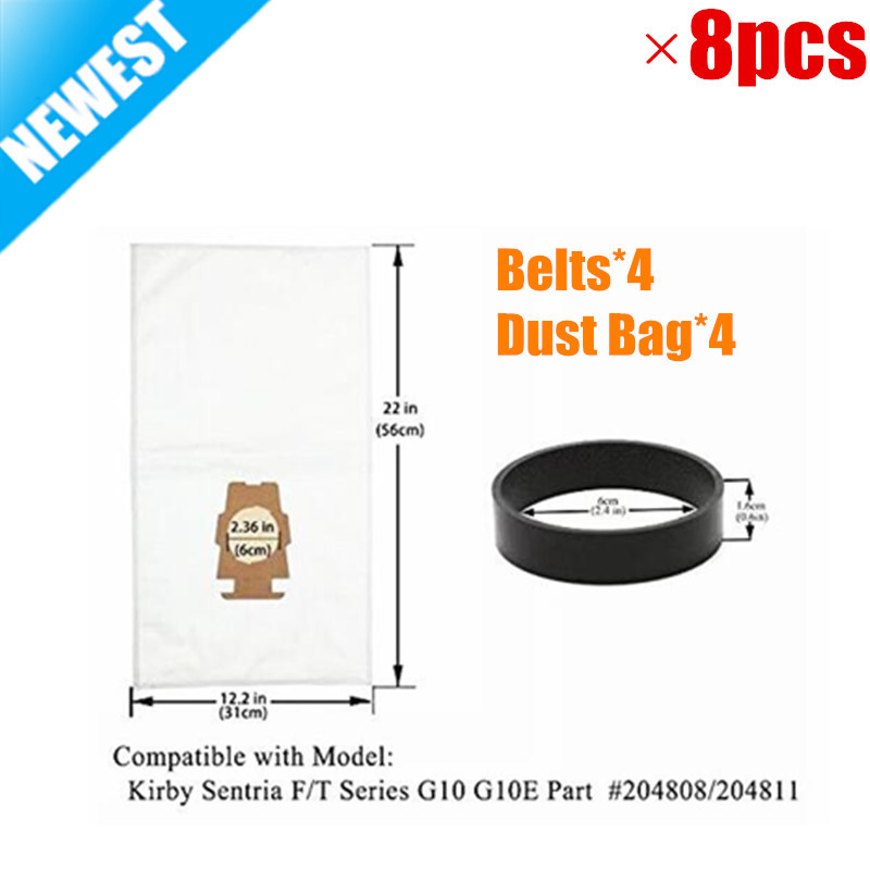4pcs F Style Sentria Universal Vacuum Bags+ 4 Belts for KIRBY Micron Magic Hepa White Cloth Sentria Models Part #20481,204811 1 pcs for kirby sentrial f t dust bag for kirby universal bag suitable for kirby universal hepa cloth microfiber dust bags