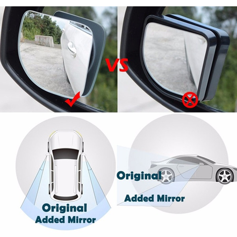 2pcs Clear Car Rear View Mirror 360 Rotating Adjustable Fixable Convex Blind Spot Mirror Parking Auto Motorcycle for Vw Golf 7 in Mirror Covers from Automobiles Motorcycles