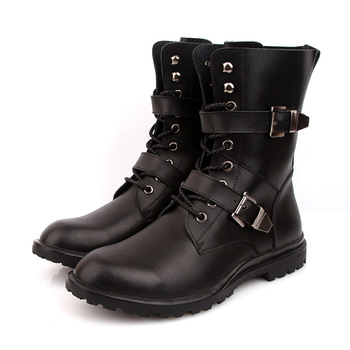 Plus Size 45 46 Men Mid-Calf Army boots Lace-Up Genuine leather Motorcycle boots Non-slip Wear-resistant Outdoor Work Boots Shoe