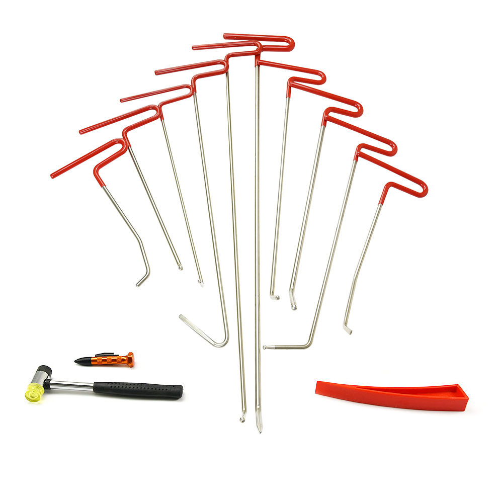 FURUIX PDR Rods Hook Tools Paintless Dent Repair Car Dent Removal PDR Tool Kit Hail Hammer furuix 32pcs pdr rod hook tool set paintless hail removal auto car ding dent repair whale tails tap down hammer hook wedge
