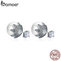 BAMOER Genuine 925 Sterling Silver Elegant Double Side Ball Exquisite Stud Earrings For Women Sterling Silver