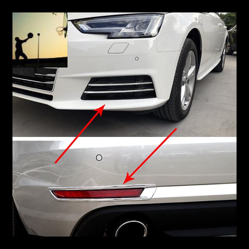 car styling ABS chrome front rear fog lamps cover trim For Audi A4 B9 2016 2017 car styling