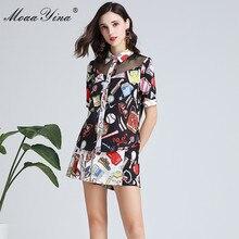 MoaaYina Fashion Designer Set Spring Summer Women Short sleeve Print Elegant Tops+Shorts Two-piece suit