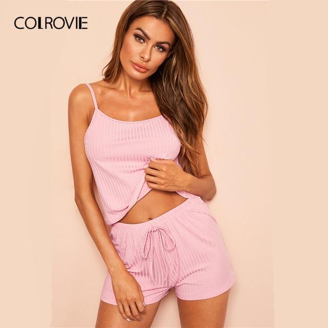 COLROVIE ורוד מצולעים Cami סקסי Cami פיג מה סט 2019 קיץ נקבה למעלה ושרוך מכנסיים נשים ללא שרוולים הלבשת