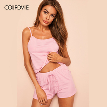 COLROVIE Pink Ribbed Cami Sexy Cami Pajamas Set 2019 Summer Female Top And Drawstring Shorts Women Sleeveless Sleepwear