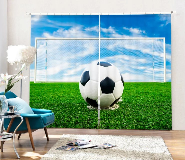 Football Printed Luxury 3D Printed  Window Curtains For  Bedding room Living room Wall Home Tapestry Decorative Drapes CortinaFootball Printed Luxury 3D Printed  Window Curtains For  Bedding room Living room Wall Home Tapestry Decorative Drapes Cortina