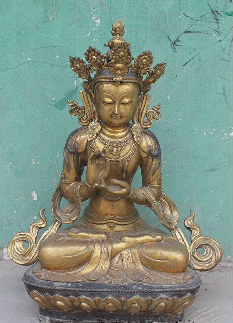 Bouddhisme tibétain Bronze doré siège blanc Tara kwan-yin déesse bouddha Statue