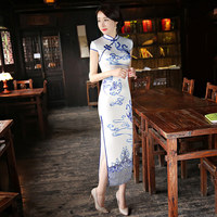 Traditional Chinese Clothing White Red Women S Cheongsam Vintage Qipao Ladies Classic Chinese Evening Dress