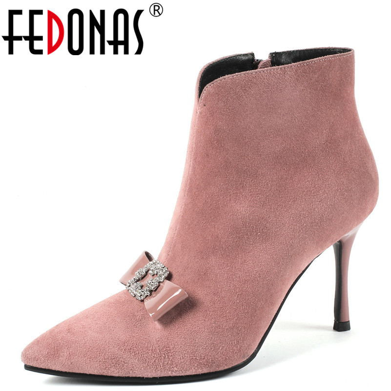 FEDONAS 1Fashion Women Ankle Boots Autumn Winter Quality High Heels Shoes Rhinestone Butterfly Knot Suede Leather Shoes Woman hongyi women motorcycle biker ankle boots glossy leather rhinestone crystal ridding bootie bow butterfly knot shoes thick heels