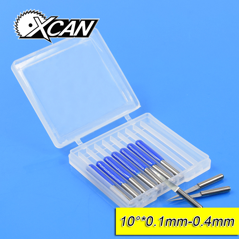 XCAN 10 Pieces V Shape Carbide CNC Engraving Bits Router Tools Degree 10 Top Diameter 0.1mm Carving Cutter 10 pcs 30 degree 0 5mm carbide pcb engraving bits flat bottom cnc router bits tools cutting carving tools 1 8 3 175mm