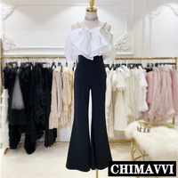 New Summer Long Pants Suit Women 2019 Lady's Pearl Sling Big Bow White Shirt + High-waist Flare Trousers Femme Two Piece Set