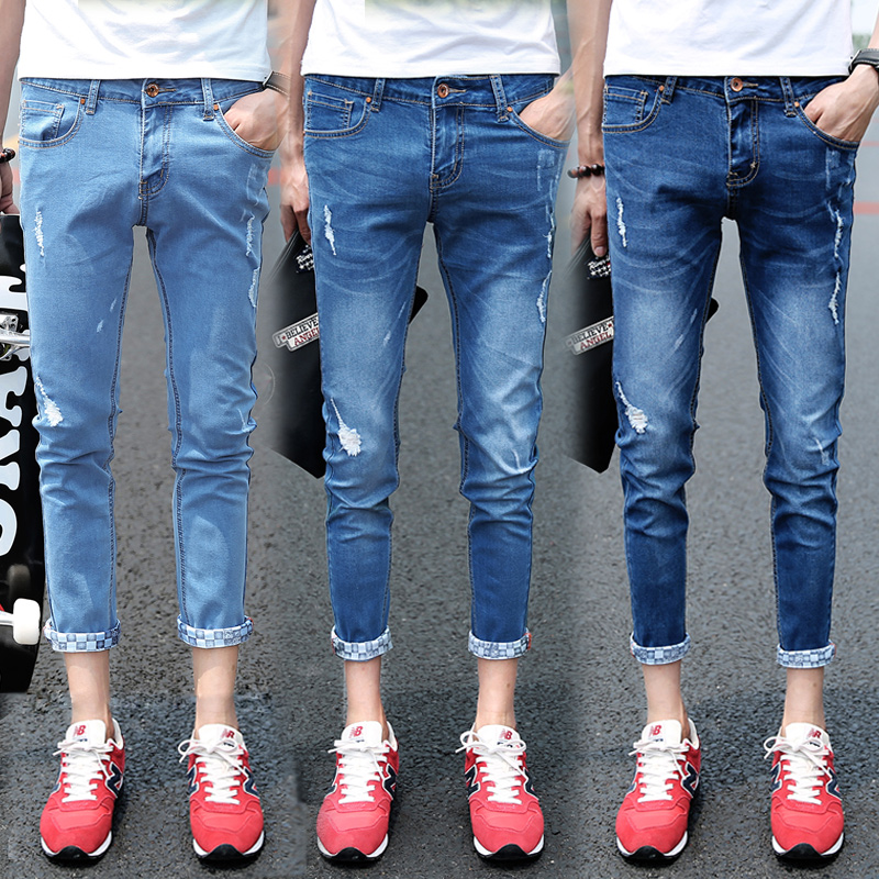 Summer Stretch Mens Hole Jeans Light Blue Dark Blue 27 28 36 Cotton Hot Fashion Casual Teen Slim Elegant Man Ankle-Length Pants