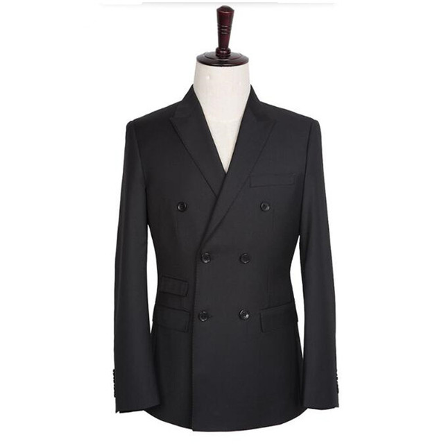 Черные мужские костюмы куртка двойной брестед мужчины свадебные смокинги куртка индивидуальные жених best man костюмы куртка