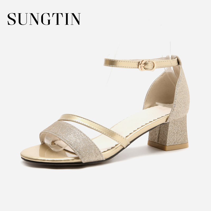 Chunky Wedding Heels: Sungtin Sexy Bling Chunky Heels Sandals Women Party
