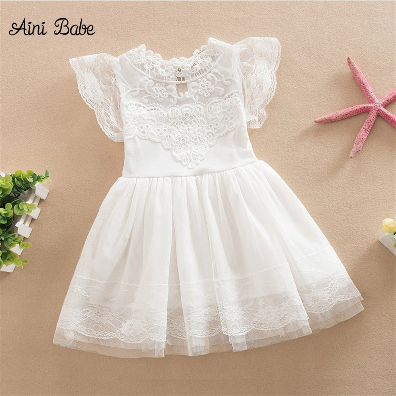 Aini Babe Baby Girl Dress Flower Girls Dresses For Weddings Kids Birthday Party Wear Dresses Children Clothing Girl 3 6 8 Years