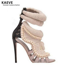 Kaeve Summer Sexy Peep Toe Handmade Pearl Beads High Heel Shoes Gladiator Sandals Fashion Women Short Ankle Boots Sandal rabbit fur charming white leather hollow out summer high heel sandals women back zipper peep toe ankle boots summer sandal boots