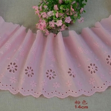 10Yards/lot Width 14cm 100% cotton embroidered lace fabrics, Women's clothing diy lace trim