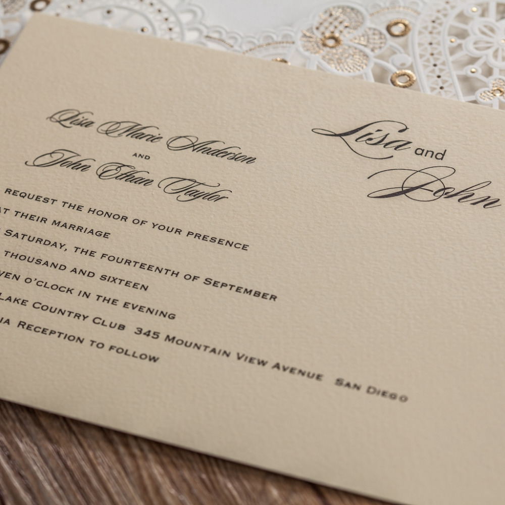 50x Luxury Laser cutting Wedding invitations card Elegant Gold Foil ...