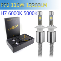 P70 1 Set H7 110W 13200LM LED Headlights XHP 70 LED Chips Fanless Super Small Conversion
