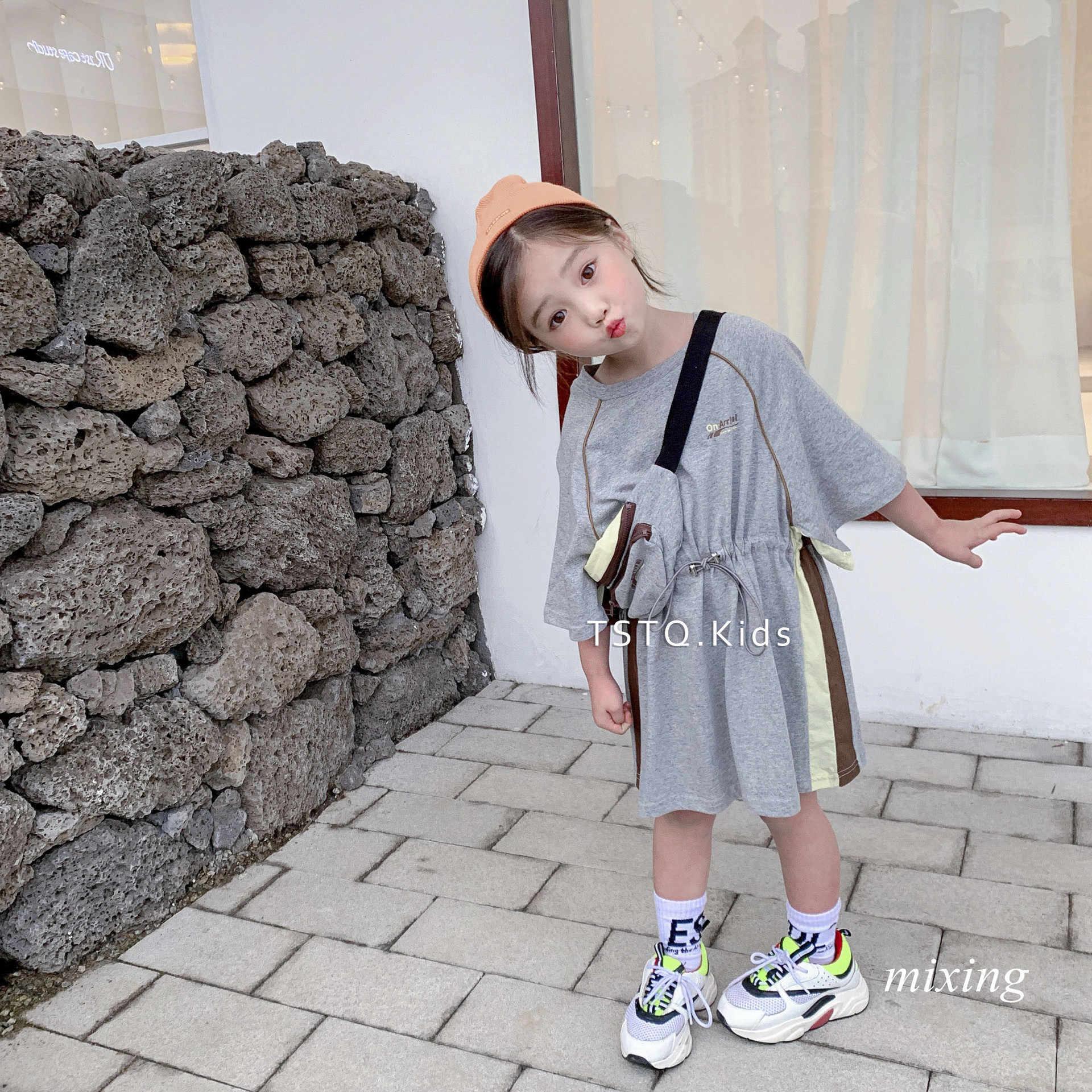 ee648ba91c3 ... Korean summer dress girls long T-shirt 2019 summer new girls dress  T-shirt ...