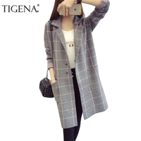 TIGENA Plus Size 3XL Plaid Long Sleeve Cardigans Women 2019 Autumn Winter Long Sweater Cardigan Female Tricot Knitted Jacket