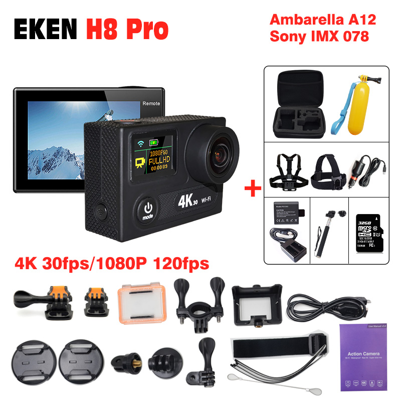 Outdoor Action Camera EKEN H8R H8 pro 1080P Sport cam deportivas HD waterproof Go Underwater Pro hero 5 170' Angle Mini Video DV eken original ultra hd 4k 25fps wifi action camera 30m waterproof app 1080p underwater go helmet extreme pro sport cam