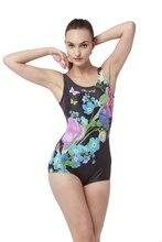 Women Sports Swimwear Boxer One piece swimsuit U-back Digital Printing Female Plus Size Retro Swimsuit sports & entertainment