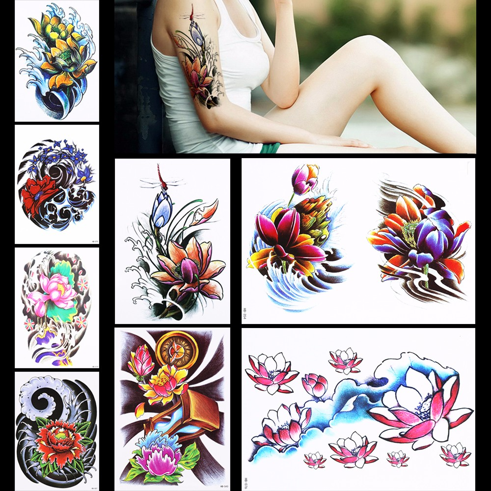Dragonfly lotus flower tattoo stencils topsimages pieces lotus pattern design colorful tattoo sticker temporary wave dragonfly arm body art waterproof fake jpg izmirmasajfo