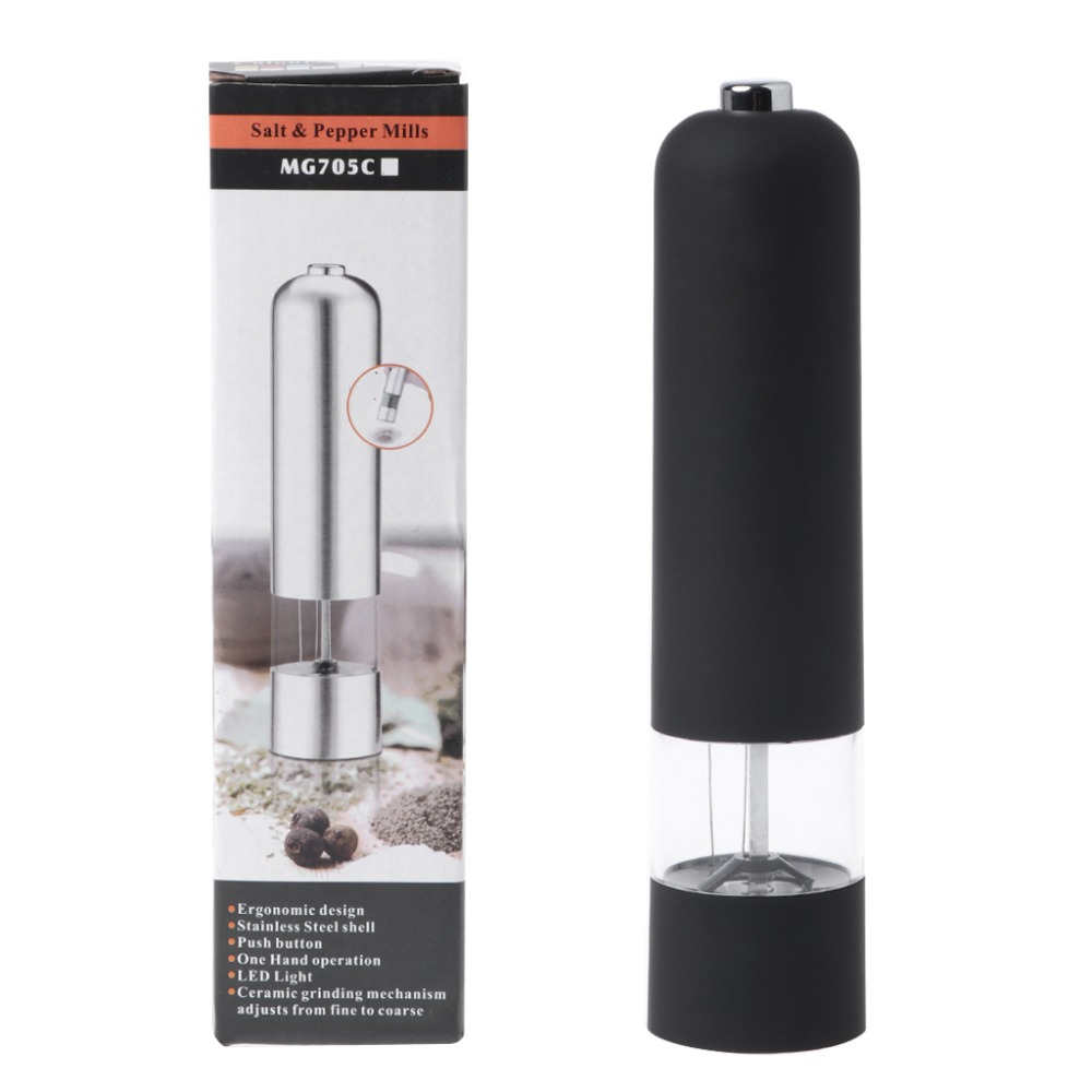 Electric Sauce Grinder ABS Spice Plastic Salt Pepper Mill LED Light Kitchen Tool стоимость