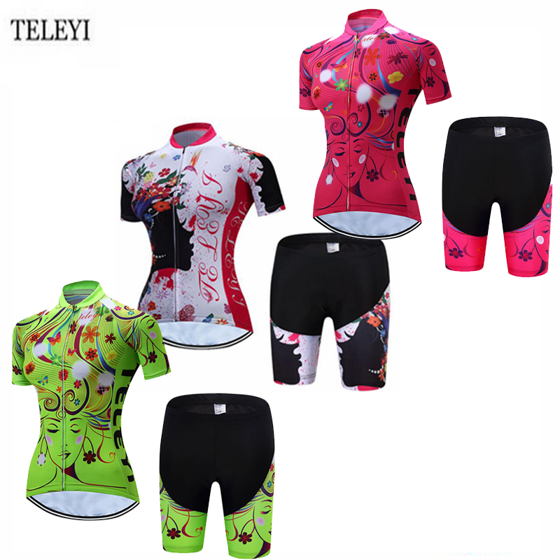 TELEYI Team Womens Bicycle Ropa Ciclismo Cycling Jersey Set Girls Short Sleeve Tops + (Bib) Shorts Suit Quick-Dry XS-4XL