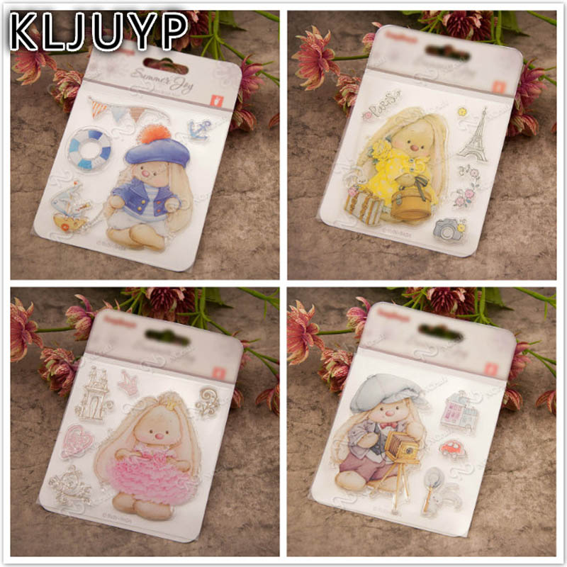 KLJUYP Baby Bear Transparent Clear Silicone Stamp/Seal for DIY scrapbooking/photo album Decorative clear stamp sheets about lovely baby design transparent clear silicone stamp seal for diy scrapbooking photo album clear stamp paper craft ll 052