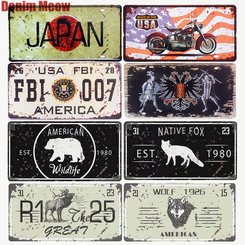 JAPAN motorsykkelplater Shabby Chic Dekorative BIL-lisensplater Vintage Metal Tin Sign Retro Nation Flag Wall Stickers 30 * 15cm