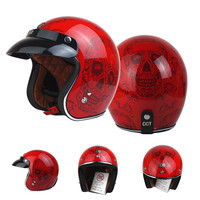 2017 TORC T50 Vintage Motorcycle Helmet 3 4 Open Face Retro Scooter Helmets With Sunny Peak