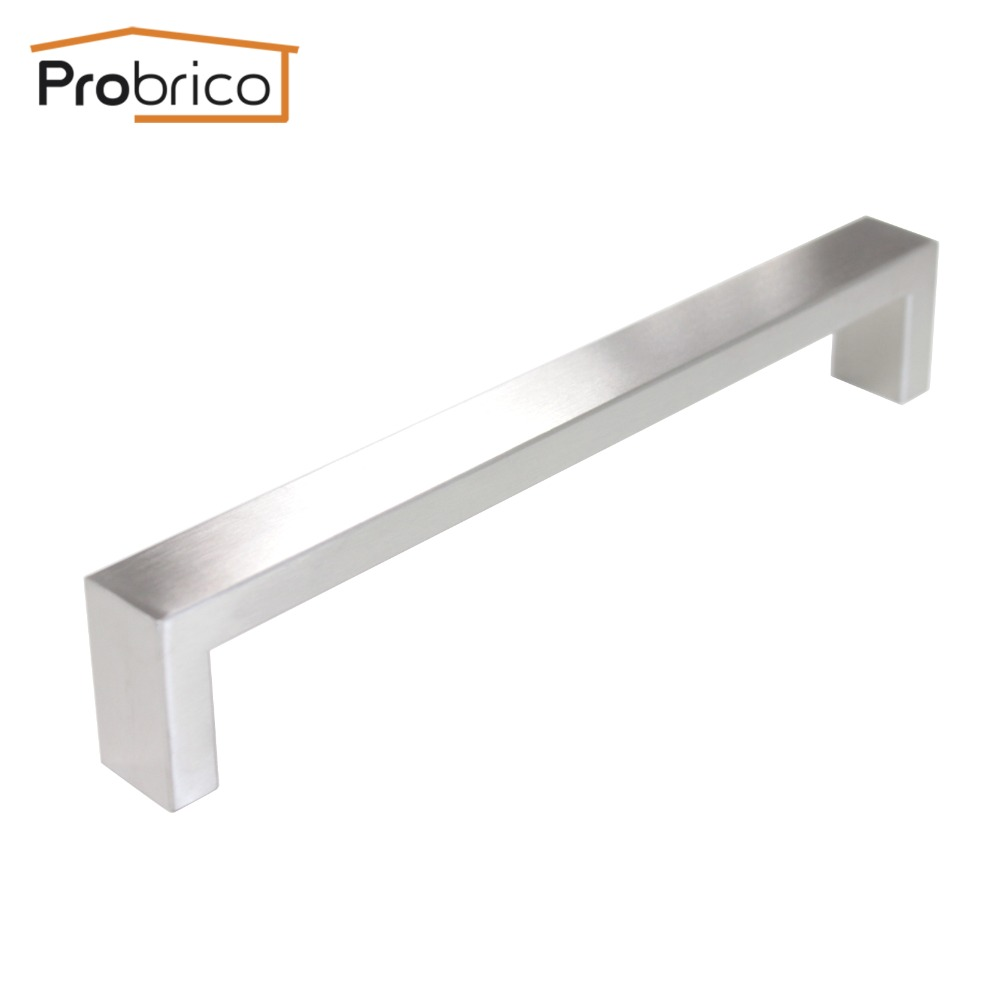 Probrico 10mm*20mm Square Bar Handle Stainless Steel Hole Spacing 192mm Cabinet Door Knob Furniture Drawer Pull PDDJ30HSS192 2pcs set stainless steel 90 degree self closing cabinet closet door hinges home roomfurniture hardware accessories supply