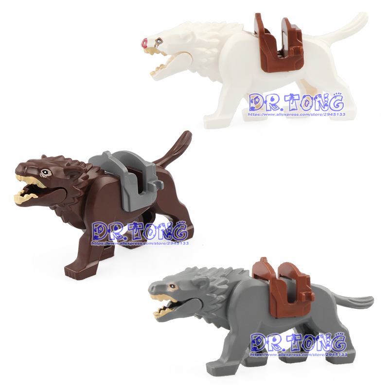 50PCS Lord of the Rings Medieval Knights Action Figure War Wolf Horse Battle Steed Legoed Building Blocks Gift Toys for Children
