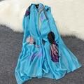 Весна лето магия гирс палец pattern печать солнцезащитный крем шаль пляжное полотенце тонкий мода Имитация шелка шарф женщин люксовый бренд