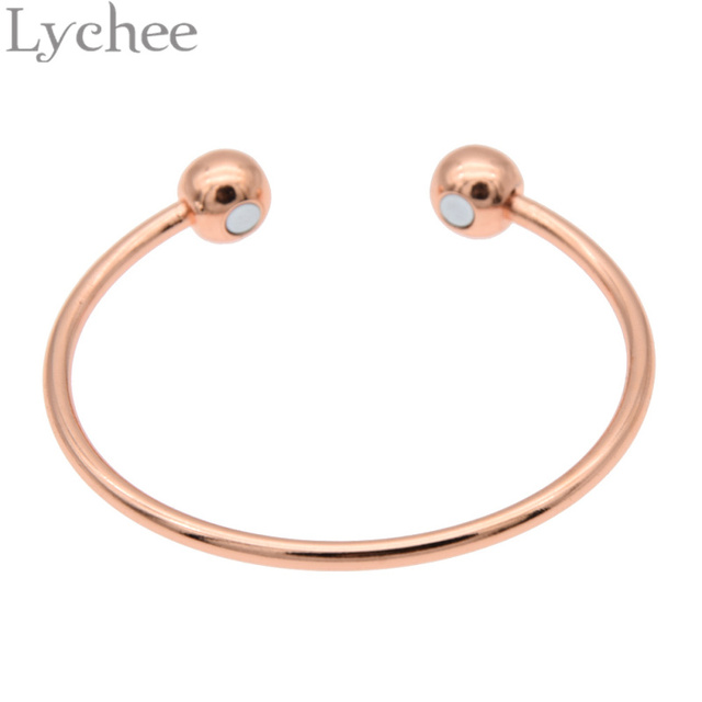 f63b6f3e7ba92 US $3.79 |Lychee Vintage Gold Silver Color Pure Copper Magnetic Health  Energy Bangle Bracelet Healing Jewelry for Men Women-in Chain & Link  Bracelets ...