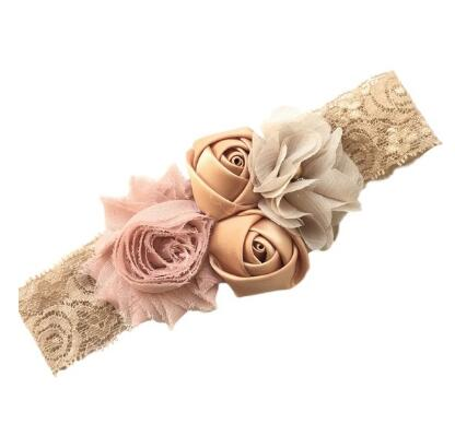 2017 baby newborn infant headband rose hair band Chiffon flower lace elastic headbands children girls hair accessories 23 colors bebe girls flower headband four felt rose flowers head band elastic hairbands rainbow headwear hair accessories