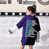 Letter Print Harajuku Tshirt Women Casual Loose T Shirt Patchwork Streetwear Hip Hop Summer Top Korean
