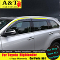 A&T car styling For Toyota Highlander Rain shield 2015 Highlander rain gear car barometer decorative Window Decoration strip