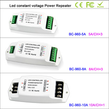 цены DC5V-24V led Power Ampilier 5A*3CH/8A*3CH/10A*1CH data repeater/ led RGB/mono amplifier PWM power repeater for led strip light