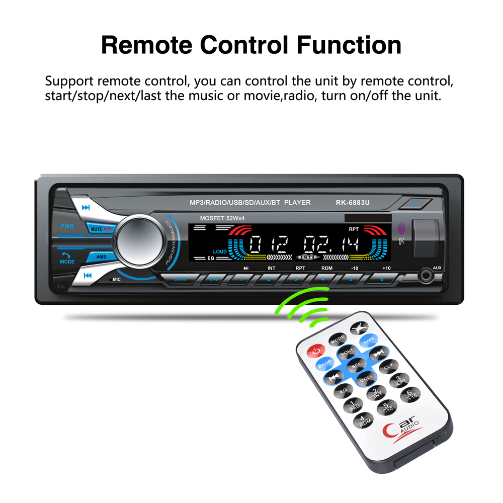 12V 4 x 52W 1 Din Bluetooth V2 0 Car Radio Audio Stereo MP3 Player Front