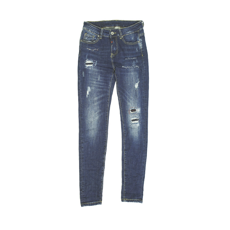 My Will Jeans Blue Tight Fashion Hand-Stitched High-Elastic Jeans Cotton Made In China