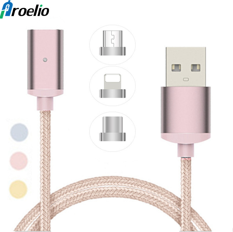 Proelio 1m Magnetic USB Cable For iPhone X 8 7 6 Plus 5s USB Type C & Micro Magnetic USB Charger Cable Adapter With LED Display
