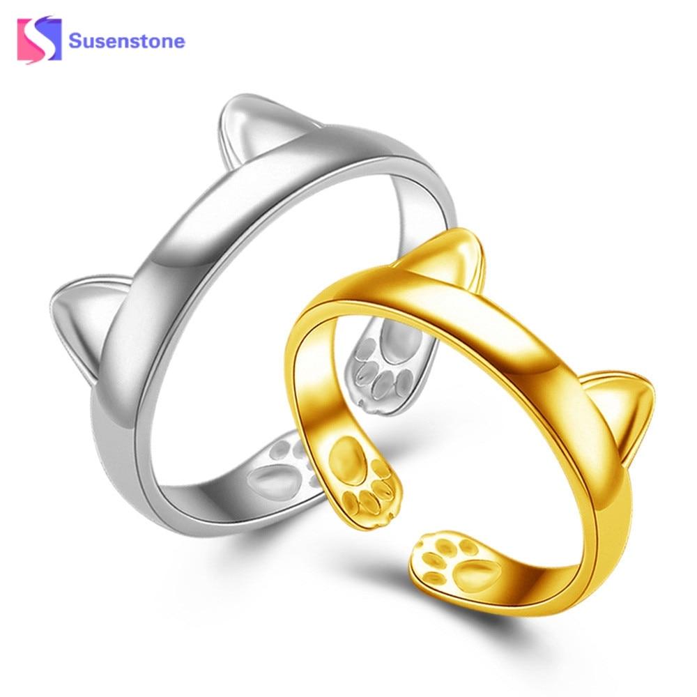 susenstone New Lovely Silver Gold Cat Ears Open Rings Vintage Jewelry 2017 Fashion Adjustable Women Girls