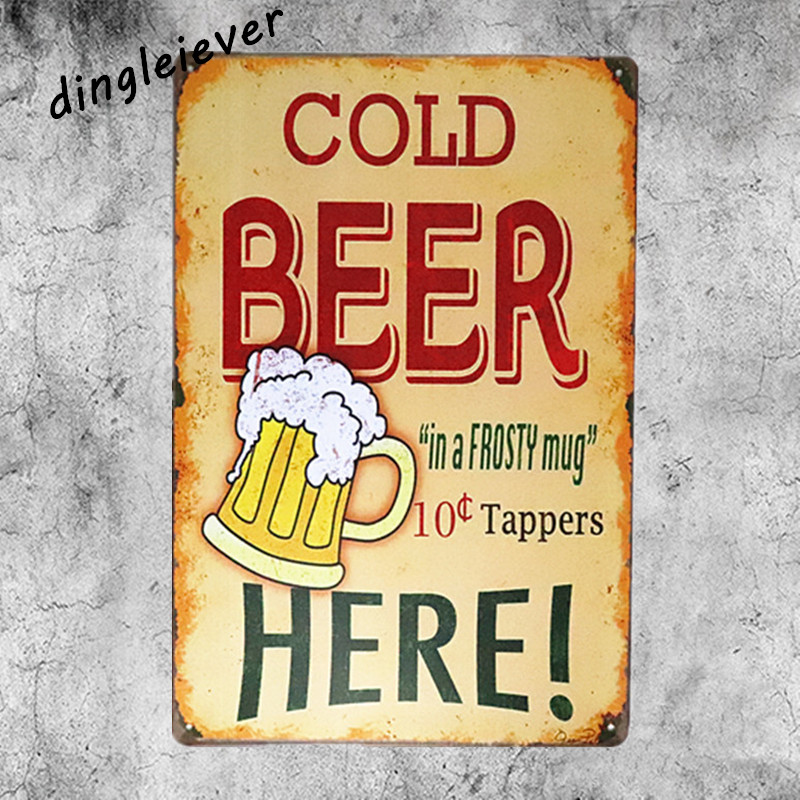 Cold beer here vintage metal sign wall pictures for living room man cave bar art beer poster